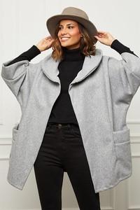 Płaszcz Curvy Lady w stylu casual z wełny