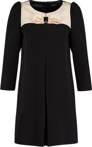 Czarna sukienka Elisabetta Franchi trapezowa z długim rękawem