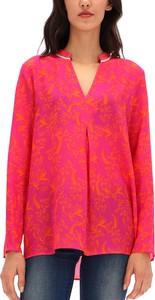 Niebieska bluzka POTIS & VERSO z dekoltem w kształcie litery v z długim rękawem
