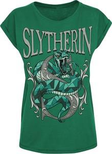 Zielony t-shirt Emp z bawełny w młodzieżowym stylu z okrągłym dekoltem