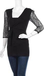 Czarna bluzka Irl z okrągłym dekoltem z długim rękawem