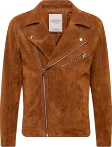 Brązowa kurtka Jack & Jones w młodzieżowym stylu