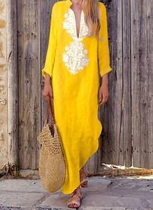 Żółta sukienka Cikelly z długim rękawem z dekoltem w kształcie litery v