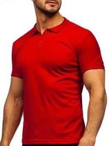 Czerwona koszulka polo Denley z krótkim rękawem z bawełny w stylu casual