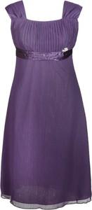 Sukienka Fokus z szyfonu z okrągłym dekoltem bez rękawów