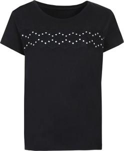 Czarny t-shirt Top Secret z krótkim rękawem z okrągłym dekoltem