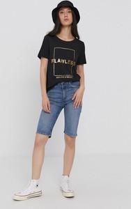 Czarny t-shirt Only z krótkim rękawem z okrągłym dekoltem w młodzieżowym stylu