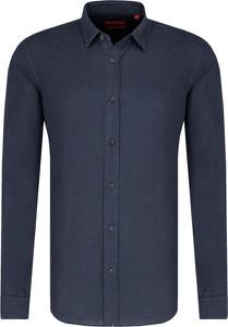 Niebieska koszula Hugo Boss z lnu