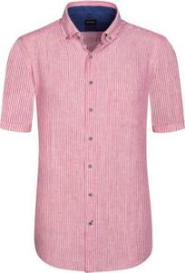 Różowa koszula Olymp z krótkim rękawem