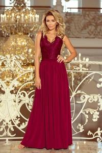 2b802392abfa51 Czerwona sukienka NUMOCO z dekoltem w kształcie litery v maxi