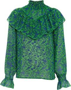 Zielona bluzka bonprix z długim rękawem z szyfonu