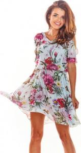 Sukienka Awama z krótkim rękawem z szyfonu