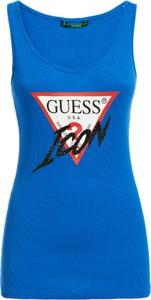 T-shirt Guess bez rękawów z okrągłym dekoltem w młodzieżowym stylu