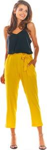 Żółte spodnie Awama w stylu klasycznym z tkaniny