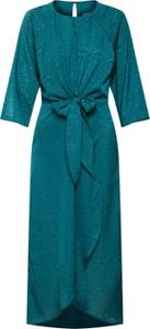 Zielona sukienka Vila maxi z długim rękawem