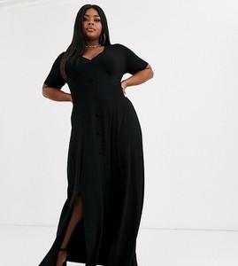 Czarna sukienka Asos z dekoltem w kształcie litery v maxi