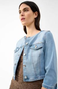 Niebieska kurtka ORSAY krótka w stylu casual z jeansu