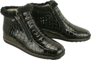 Czarne botki Rieker na zamek ze skóry na koturnie