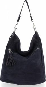 Granatowa torebka GENUINE LEATHER duża na ramię w stylu retro