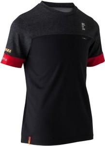 Czarna koszulka dziecięca Kipsta z krótkim rękawem