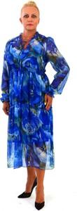 Niebieska sukienka Roxana - sukienki z długim rękawem