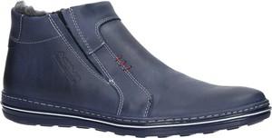 Niebieskie buty zimowe Casu w stylu casual ze skóry