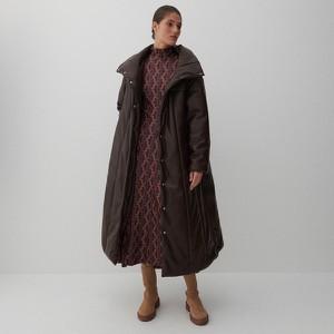 Brązowy płaszcz Reserved ze skóry