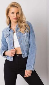 Niebieska kurtka Promese krótka z jeansu w stylu casual