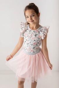 Bluzka dziecięca Myprincess / Lily Grey w kwiatki z krótkim rękawem z bawełny