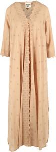 Sukienka Semicouture z dekoltem w kształcie litery v z długim rękawem