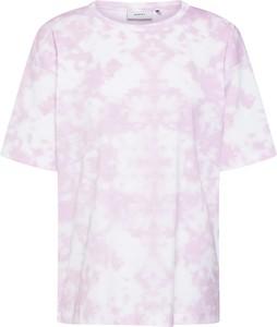 Różowa bluzka Moves z dżerseju z okrągłym dekoltem z krótkim rękawem