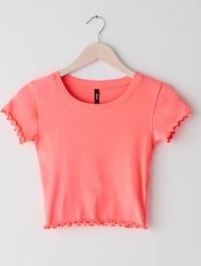 Różowy t-shirt Sinsay z krótkim rękawem z okrągłym dekoltem