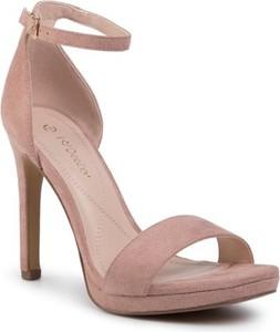 Różowe sandały DeeZee z klamrami na wysokim obcasie