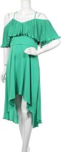 Zielona sukienka Halston Heritage asymetryczna