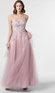 Różowa sukienka Luxuar Fashion maxi rozkloszowana z okrągłym dekoltem