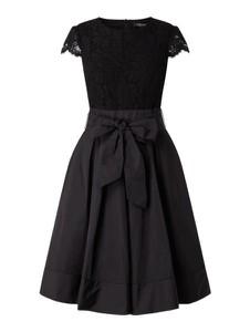 Czarna sukienka Ralph Lauren z krótkim rękawem mini z okrągłym dekoltem