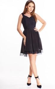Sukienka Ptakmoda.com z tiulu rozkloszowana bez rękawów