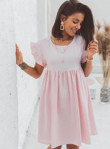 Różowa sukienka SELFIEROOM w stylu casual z krótkim rękawem mini