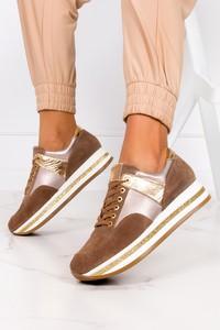Brązowe buty sportowe Kati sznurowane ze skóry