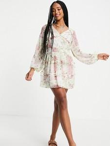 Sukienka Reclaimed Vintage z dekoltem w kształcie litery v z długim rękawem