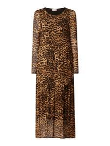 Brązowa sukienka Free/quent z długim rękawem z okrągłym dekoltem maxi