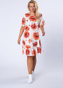 Sukienka Ptakmoda.com mini z okrągłym dekoltem z krótkim rękawem