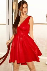 Czerwona sukienka Bicotone rozkloszowana mini