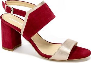 Sandały Euro Moda na średnim obcasie z klamrami ze skóry