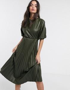 Sukienka Asos z długim rękawem ze skóry