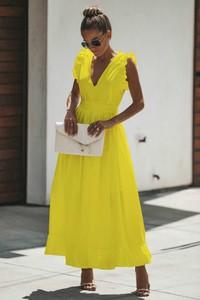 Sukienka Ivet.pl maxi z krótkim rękawem