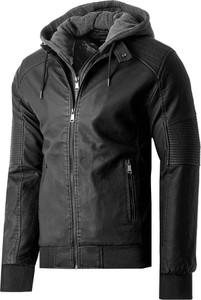 Czarna kurtka Risardi ze skóry w stylu casual krótka