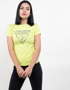 Żółty t-shirt Guess z krótkim rękawem z okrągłym dekoltem