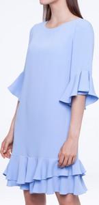 Niebieska sukienka L'AF z okrągłym dekoltem w stylu casual z długim rękawem