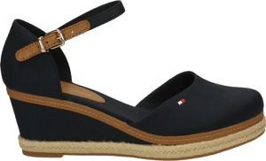 Czarne sandały Tommy Hilfiger na średnim obcasie ze skóry na koturnie